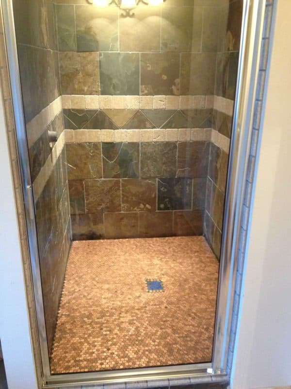 Shower Floor Made Out Of 5382 Pennies Recyclart