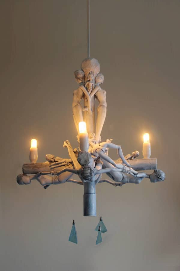 Upcycled Doll Chandelier Made Using Recycled Materials Lamps Lights
