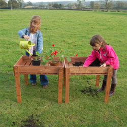 Kids Wooden Standing Raised Bed Growing Table