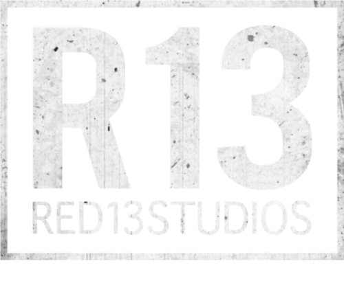 White textured Red 13 Studios logo