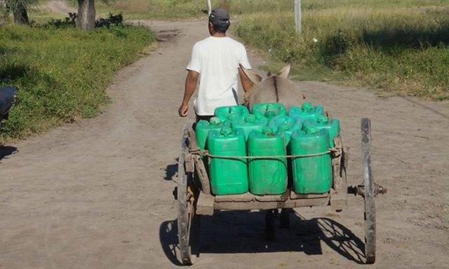 Para buscar agua, usan carros, bicicletas, caballos y hasta burros.   Foto: Paula Juárez