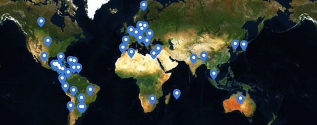 Mapa de los países en los que está presente la app.