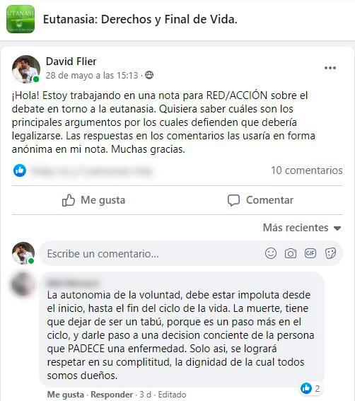 Captura de pantalla de interacción en el grupo privado de Facebook que impulsa la eutanasia. Una mujer argumenta que la eutanasia debe ser legal para respetar la capacidad de cada quien de decidir.