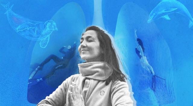 Un collage de imágenes intervenidas de la apneísta Ludmila Brzozowski.