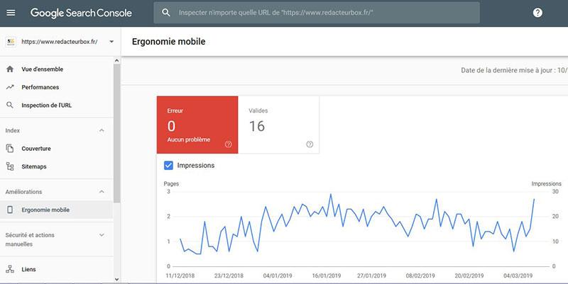 Une capture d'écran de Google Search Console pour l'analyse de la compatibilité avec la navigation mobile