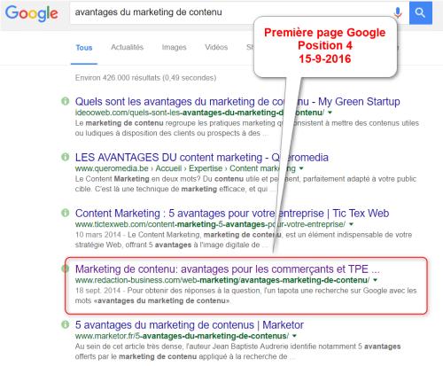 Go SEO - Résultats Google - marketing de contenu