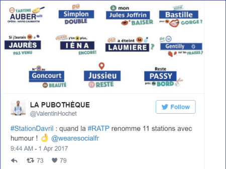 RATP - Capture tweet - promotion decalee