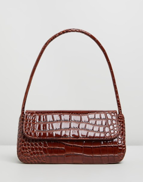 Brie Leon The Camille Brown Croc 90s Shoulder Bag