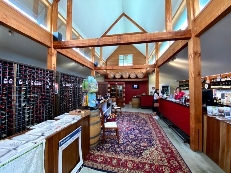 Inside the tasting room at Petersons Wines Broke Road
