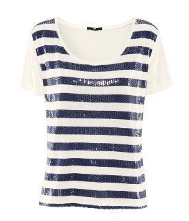 H&M t-shirt a righe marine con paillettes