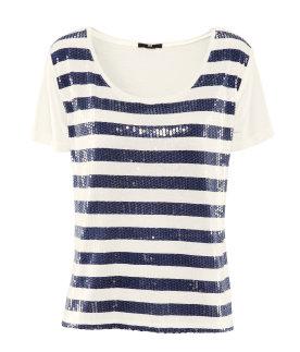 H&M t-shirt a righe marine con paillettes