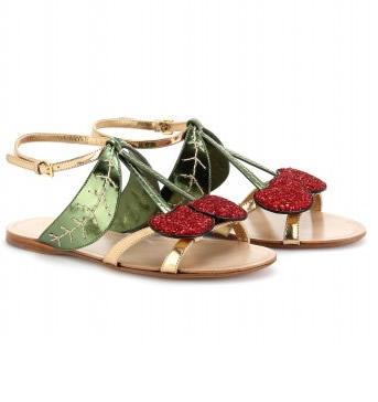 Miu Miu sandali infradito con ciliegie glitter