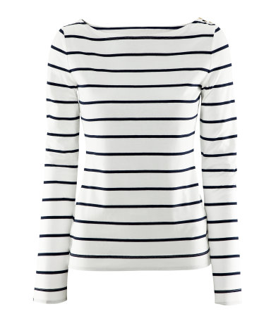 H&M t-shirt a righe marine a maniche lunghe