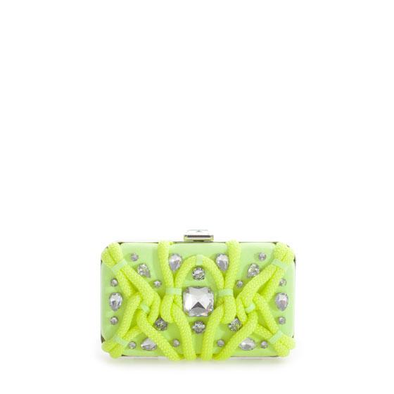 Zara clutch fluo con pietre
