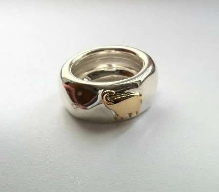 Dodo anello in argento con animale in oro