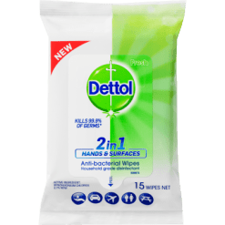 Dettol 2 in 1 Antibacterial Hands & Surfaces Wipes - 15ea