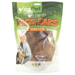 VitaPet Oven Roasted Pig's Ears Dog Treats - 6ea