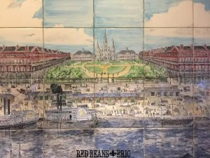 Tile painting of the French Quarter located inside of the Place d'Armes Hotel