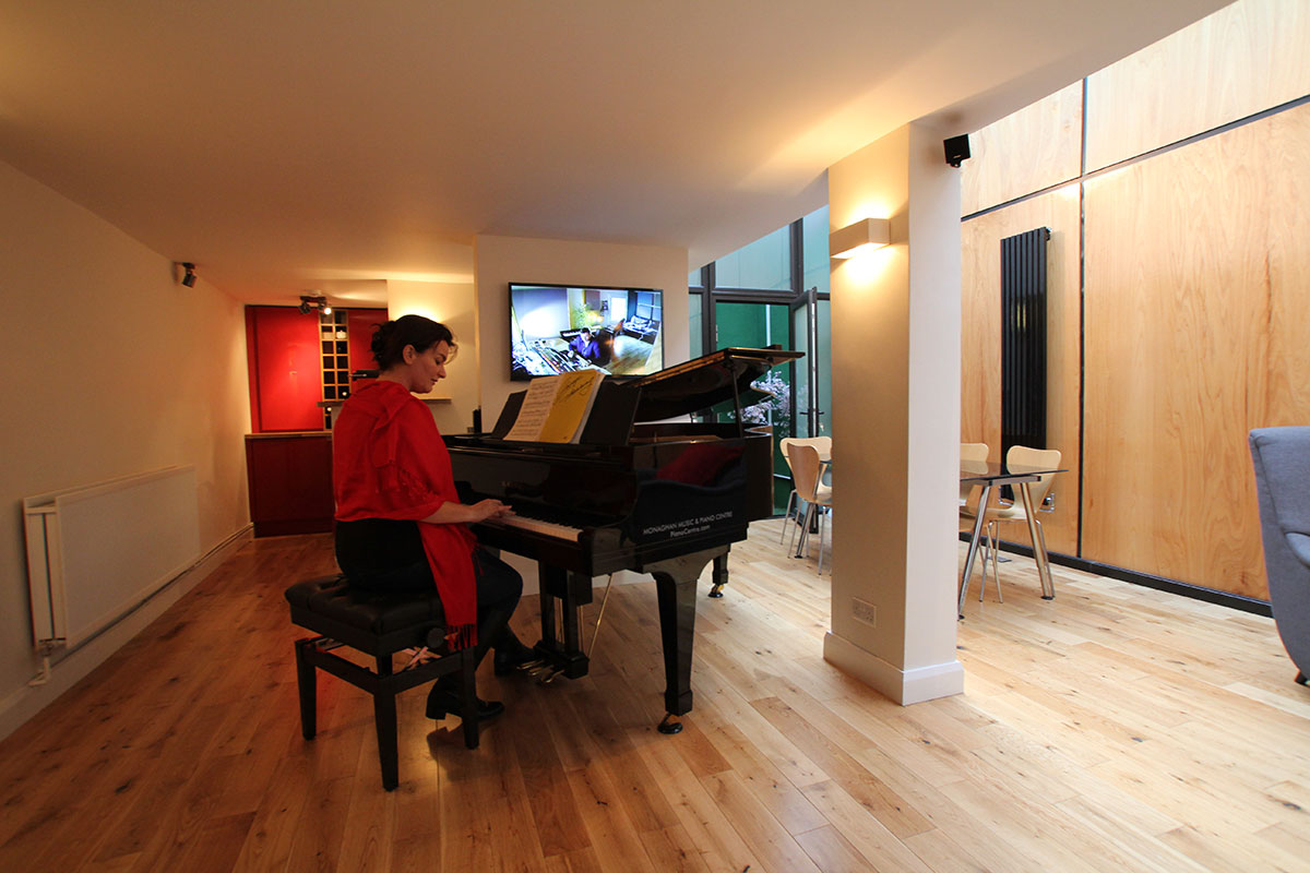 Oonagh Derby on piano at RedBox Recording Studios
