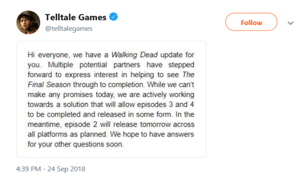 Telltale Games' employees were let go without severance pay
