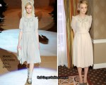"""""""Never Let Me Go"""" Press Conference - Carey Mulligan In Marc Jacobs"""