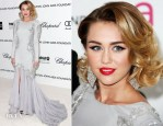 Miley Cyrus In Roberto Cavalli - Elton John's AIDS Foundation Academy Awards Viewing Party