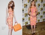 Scarlett Johansson In Versace -  'Captain America: The Winter Soldier' Press Line: Comic Con 2013