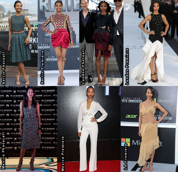 Which Was Your Favourite Zoe Saldana Look From The 'Star Trek Into The Darkness' Promo Tour