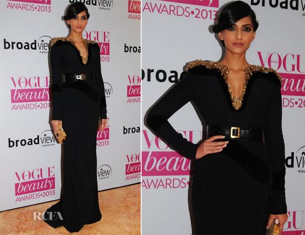 Sonam Kapoor In Alexander McQueen - Vogue Beauty Awards 2013