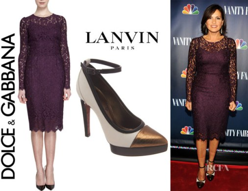 Mariska Hargitay s Dolce   Gabbana Long Sleeve Lace Dress And Lanvin     Mariska Hargitay s Dolce   Gabbana Long Sleeve Lace Dress And Lanvin Pumps