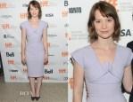 Mia Wasikowska In Roland Mouret - 'The Double' Toronto Film Festival Premiere