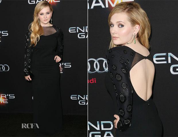 Abigail Breslin In Halston Heritage - 'Ender's Game' LA Premiere