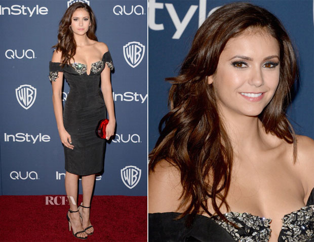 Nina Dobrev In Giorgio Armani - InStyle and Warner Brothers Golden Globes Awards Party