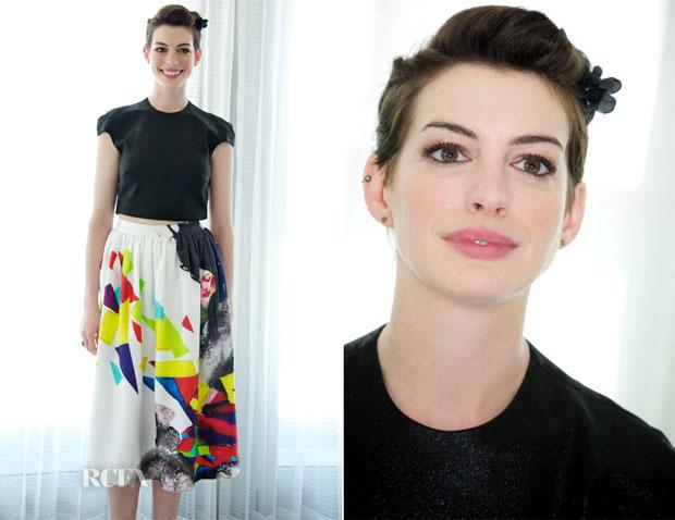 Anne Hathaway In Alice + Olivia - 'Rio 2' Miami Press Conference2