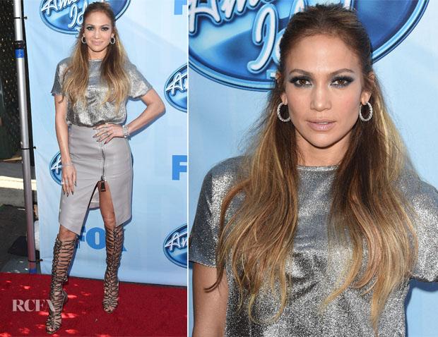 Jennifer Lopez In Cédric Charlier & Thomas Wylde - 'American Idol XIV' Red Carpet Event