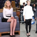 Elizabeth Olsen In Roland Mouret & The Row - The Tonight Show Starring Jimmy Fallon & The Daily Show
