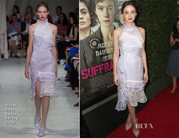 Carey Mulligan In Oscar de la Renta - 'Suffragette' LA Premiere