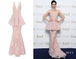 Coco Rocha's Marchesa lace peplum gown