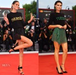 Izabel Goulart & Isabeli Fontana bring Alberta Ferretti's Days-of-the-Week sweaters to Venice Film Festival