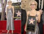 Gillian Anderson In Sophia Kah - Hollywood Walk Of Fame Star Unveiling