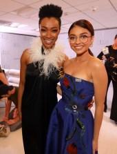 Sonequa Martin-Green In Adam Selman and Sarah Hyland In Carolina Herrera - 2018 Costume Designers Guild Awards