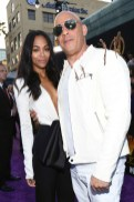 Zoe Saldana and Vin Diesel attend the premiere of Disney and Marvel's 'Avengers: Infinity War'