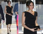 Meghan Markle In Black Halo's Popular Jackie O Dress
