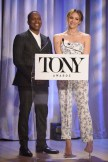 Leslie Odom Jr. and Katharine McPhee attend the 2018 Tony Awards Nominations Announcement