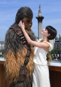 Phoebe Waller-Bridge and Chewbacca attend Solo: A Star Wars Story photocall