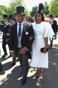 Quarterback for the Seattle Seahawks, Russell Wilson arrives with Ciara on day 3 of Royal Ascot