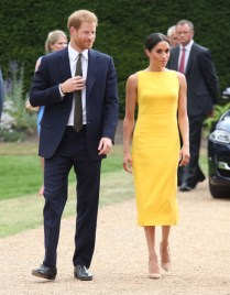 Prince Harry, Duke of Sussex and Meghan, Duchess of Sussex arrive to meet youngsters from across the Commonwealth as they attend the Your Commonwealth Youth Challenge reception