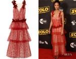Thandie Newton's Rodarte Velvet-Trimmed Appliquéd Layered Tulle Gown