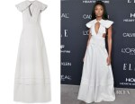 Kiki Layne's Calvin Klein Cape-Effect Striped Dress