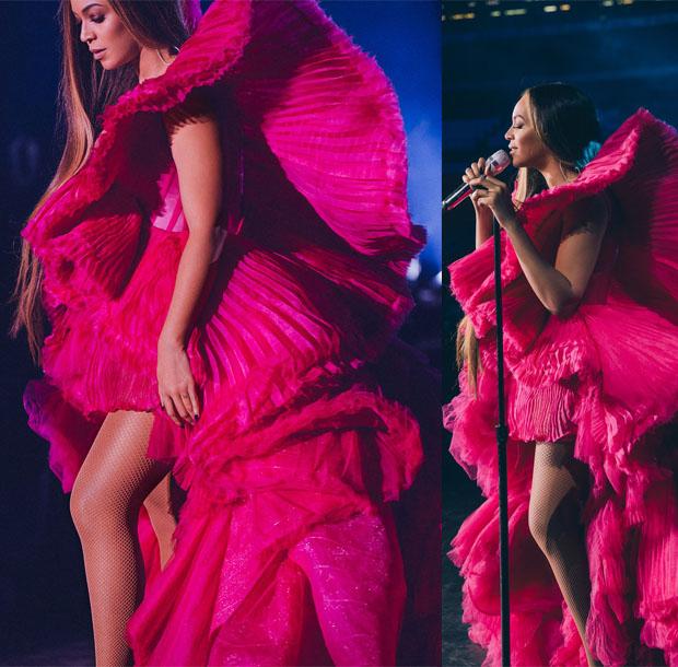 Beyonce Knowles In Atelier Versace, Mary Katrantzou, Balmain & Ashi Studio - Global Citizen Festival Mandela 100